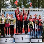 women relay podium
